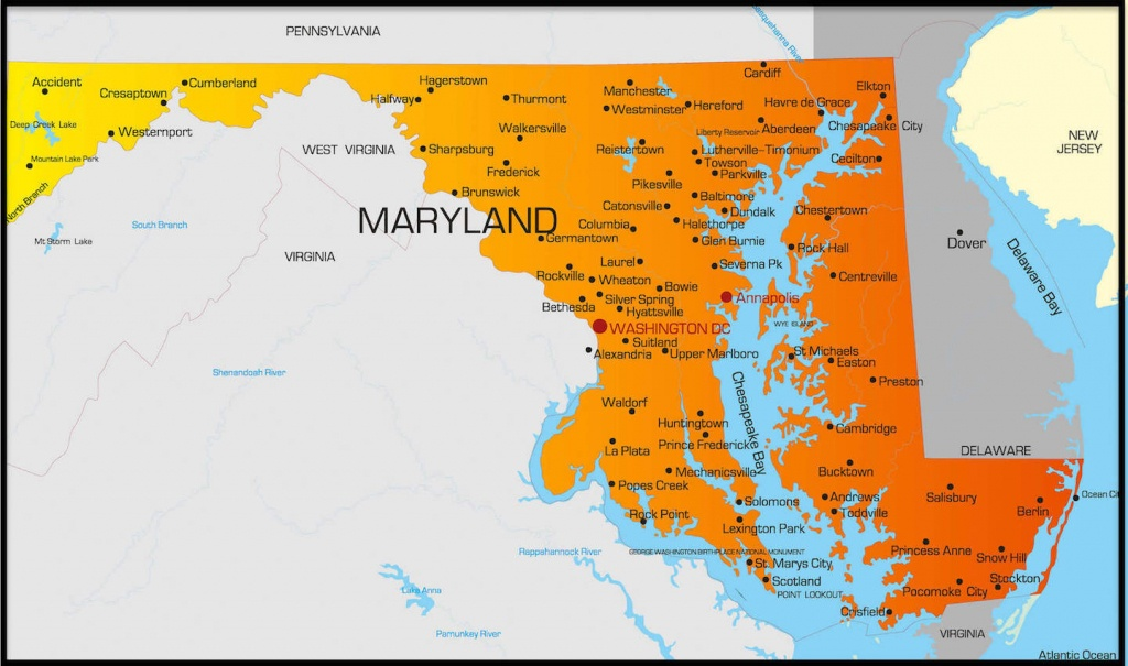 Printable Map Of Maryland And More - Printable Map Of Maryland