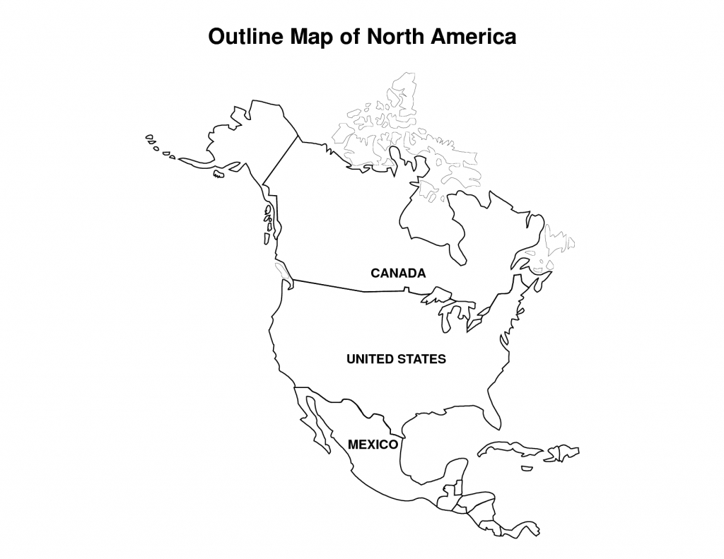Printable Map Of North America | Pic Outline Map Of North America - Printable Map Of North America With Labels