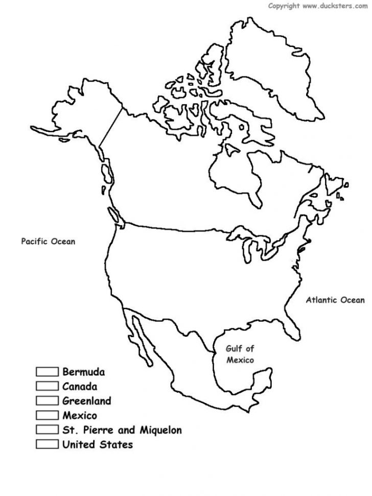 Outline Map Of North America Printable