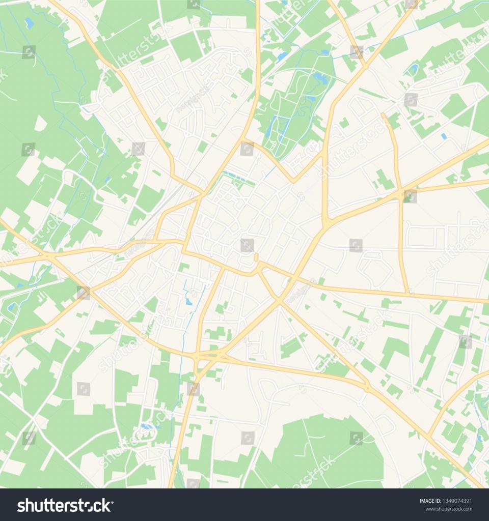 Printable Map Sint Truiden Belgium Main Secondary Stock Vector - Printable Map Of Belgium