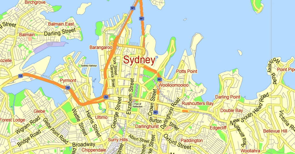 Printable Map Sydney, Australia, City Plan 2000 M Scale Adobe - Printable Street Map Of Port Macquarie