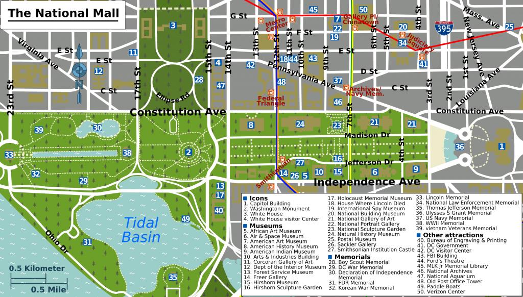 Printable Map Washington Dc | National Mall Map - Washington Dc - Printable Map Of Downtown Dc