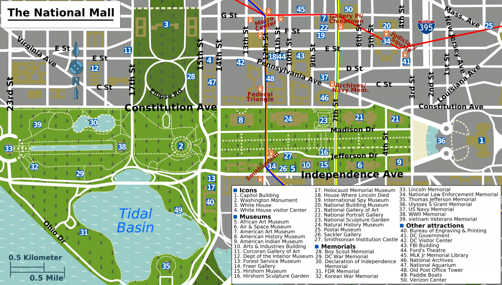 Printable Map Washington Dc | National Mall Map - Washington Dc - Printable Map Of Washington Dc Sites