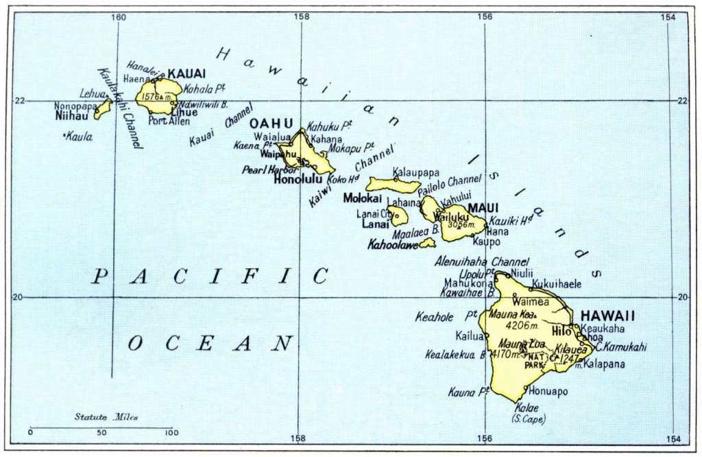 Printable Maps Of Hawaii Islands | Free Map Of Hawaiian Islands 1972 - Printable Map Of Hawaii