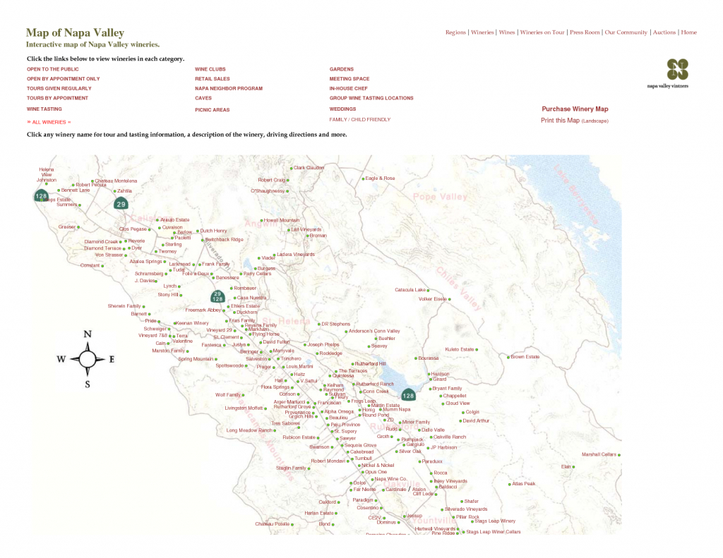Printable Napa Wine Map | Map Of Napa Valley Interactive Map Of Napa - Printable Napa Winery Map