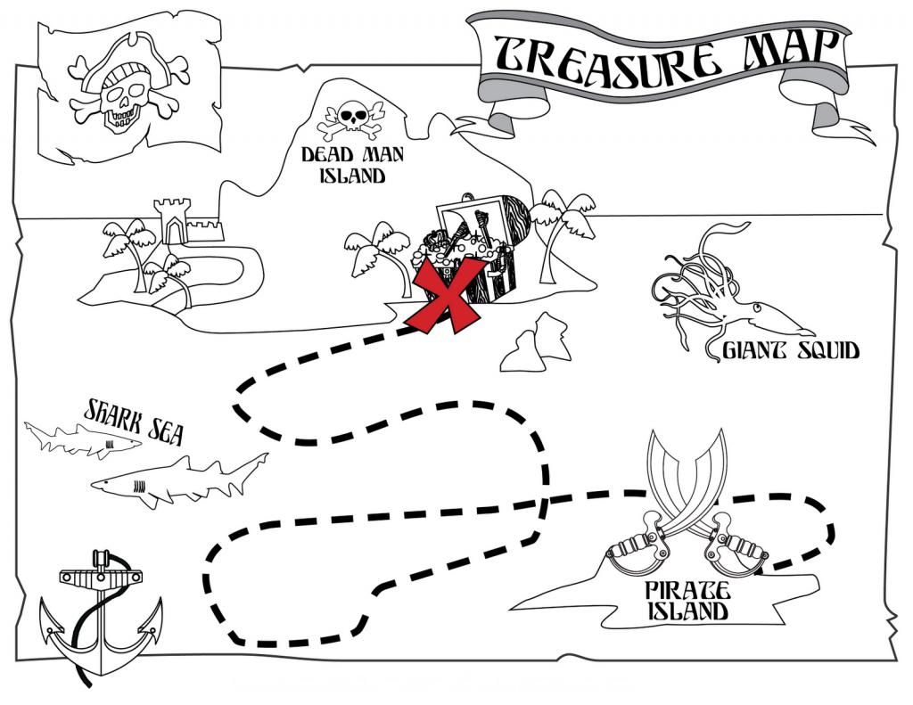Printable Pirate Treasure Map Coloring Page | Pre-K Stuff | Pirate - Printable Treasure Map Coloring Page