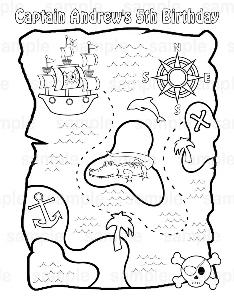 Printable Pirate Treasure Map For Kids✖️adult Coloring Pages➕More - Children's Treasure Map Printable