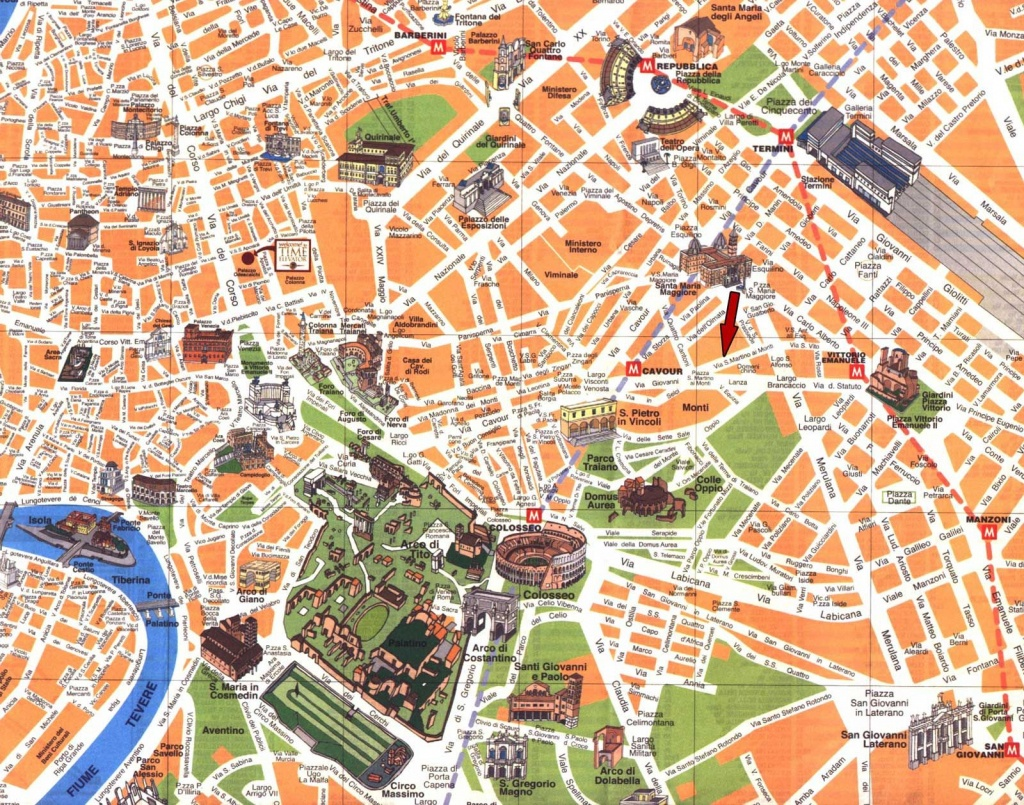 Printable Road Map Of Rome | Detailed Travel Map Of Rome City Center - Rome City Map Printable