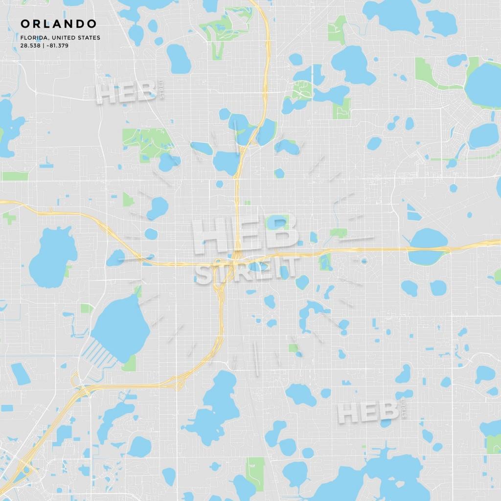 Printable Street Map Of Orlando, Florida | Hebstreits Sketches - Florida Street Map