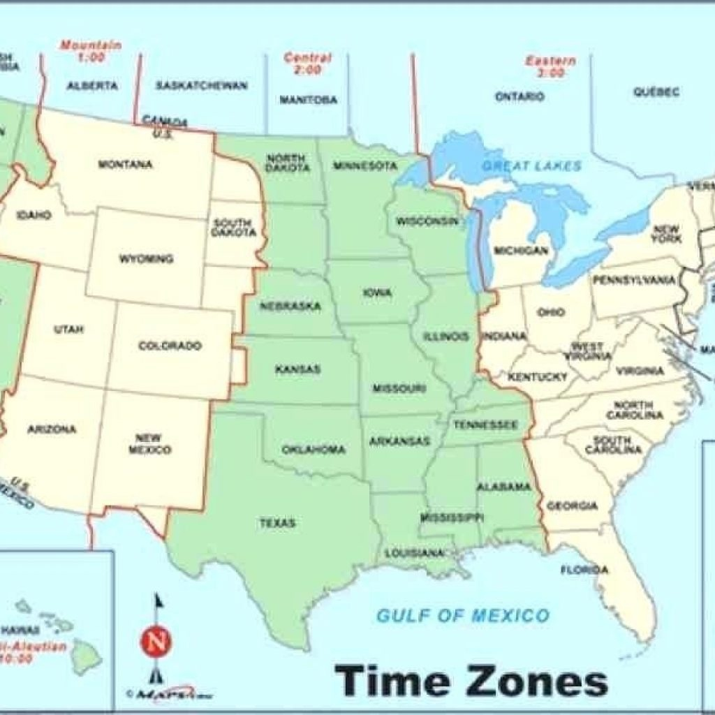 Usa Full Size Map - Hepsimaharet - Printable Time Zone Map ...