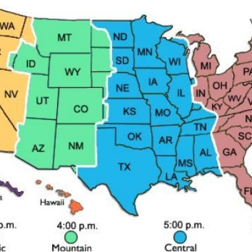 Printable Time Zone Map Free Of Usa Zones - Printable Time Zone Map