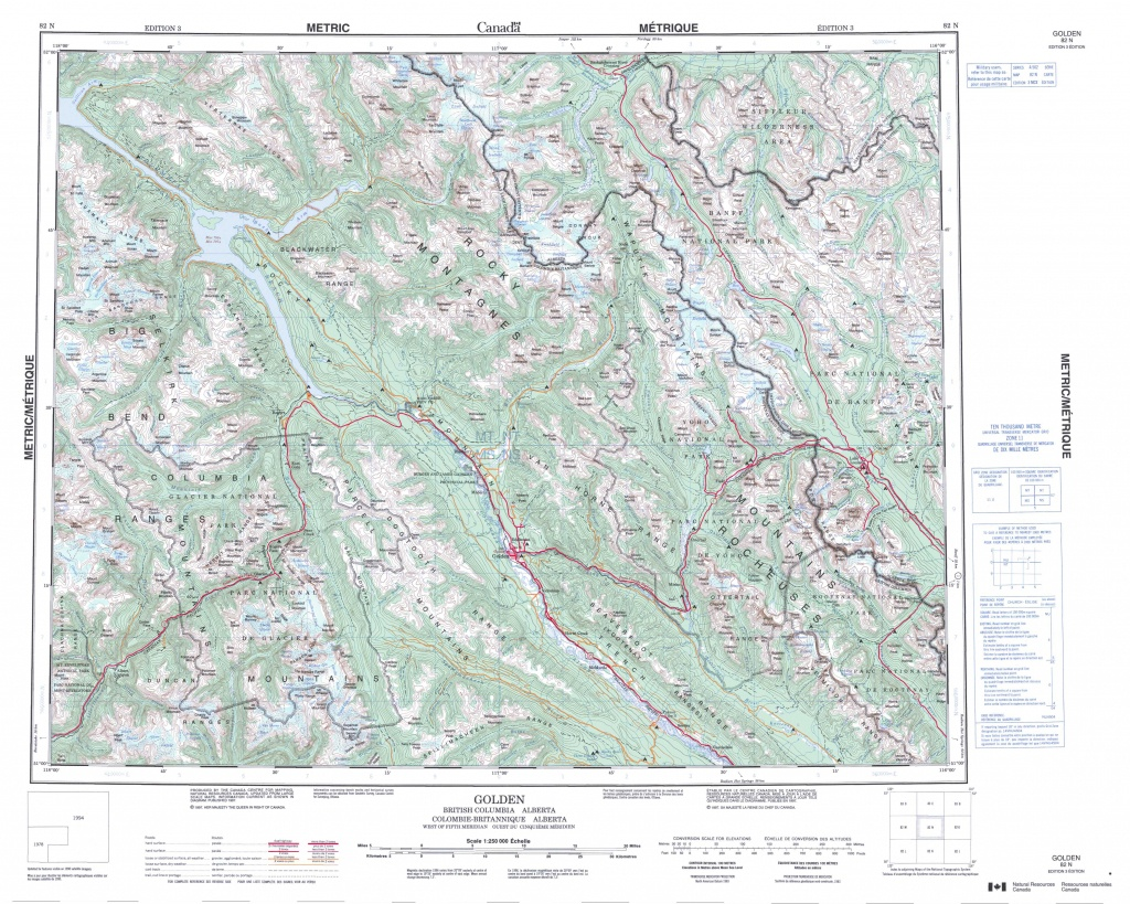 Printable Topographic Map Of Golden 082N, Ab - Free Printable Topo Maps Online