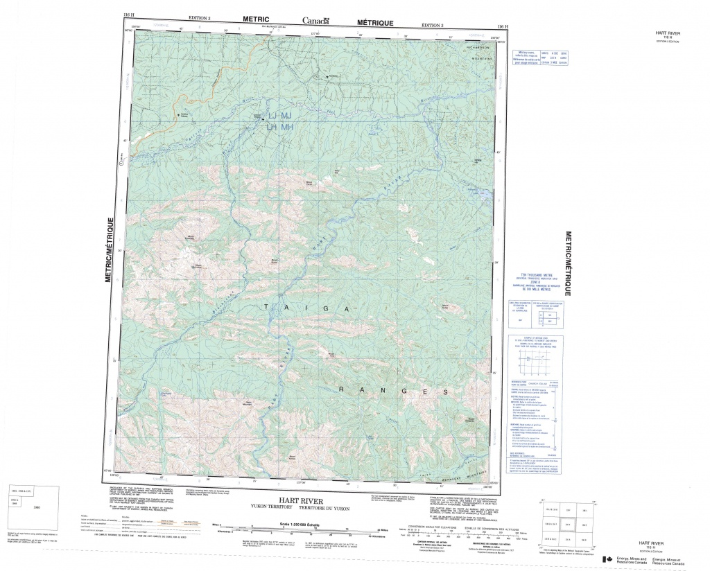 Printable Topographic Map Of Hart River 116H, Yk - Free Printable Topo Maps Online