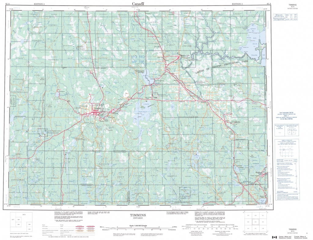 Printable Topographic Map Of Timmins 042A, On - Printable Topo Maps