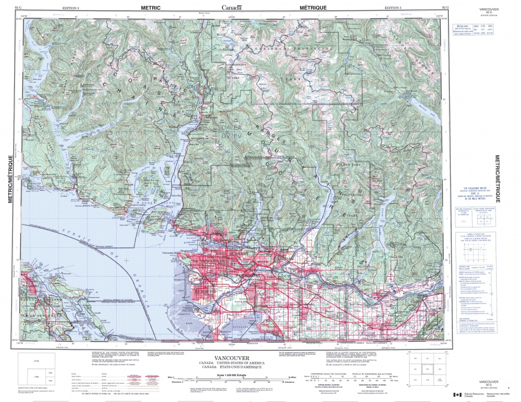 Printable Topographic Map Of Vancouver 092G, Bc - Printable Topo Maps