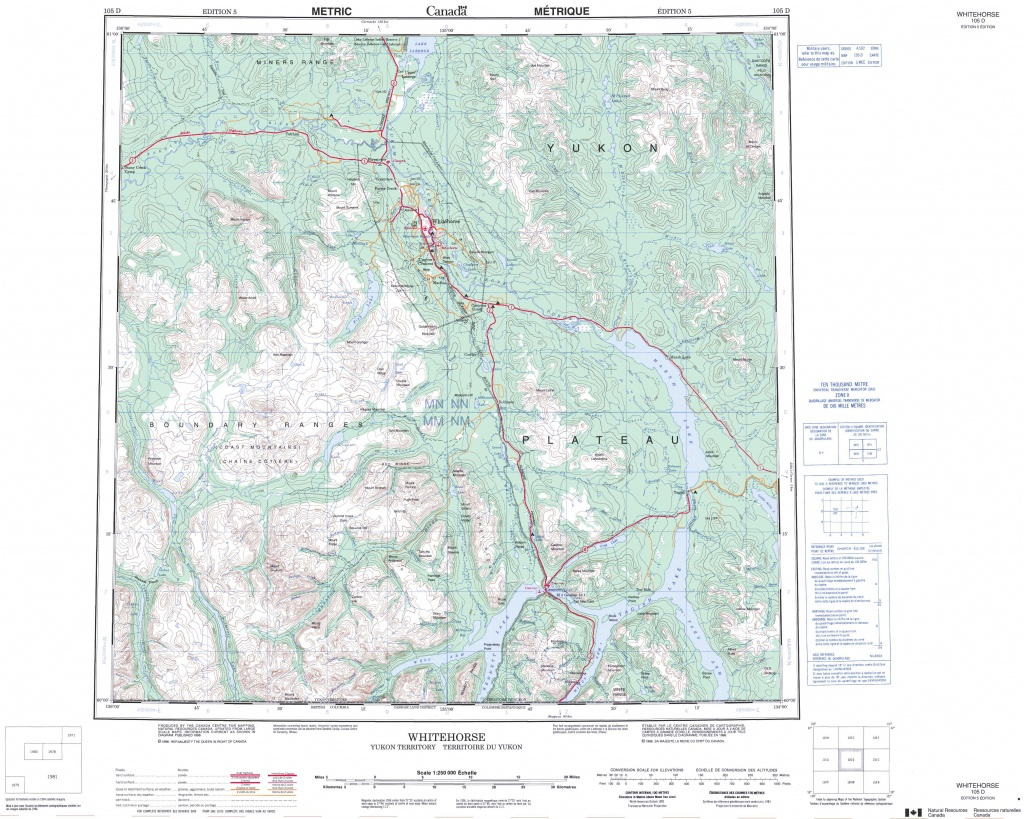 Printable Topographic Map Of Whitehorse 105D, Yk - Printable Topographic Maps Free