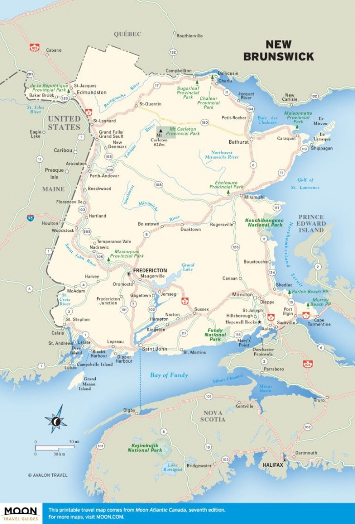 Printable Travel Maps Of Atlantic Canada | Canada | New Brunswick - Printable Map Of New Brunswick
