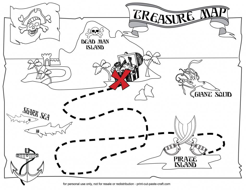 Printable Treasure Map | Print, Cut, Paste, Craft! - Printable Treasure Map