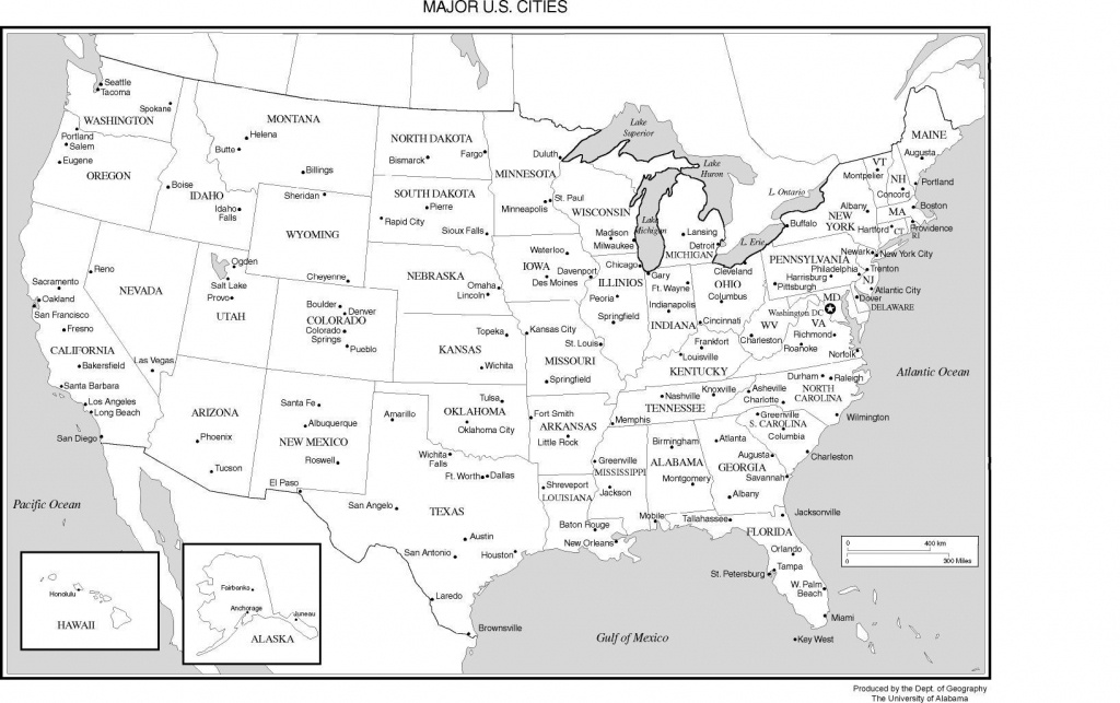 Printable Us Map With Major Cities And Travel Information   Download - Printable United States Map With Scale