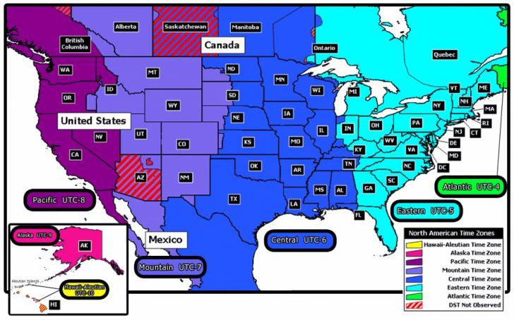 Usa Time Zone Map Printable