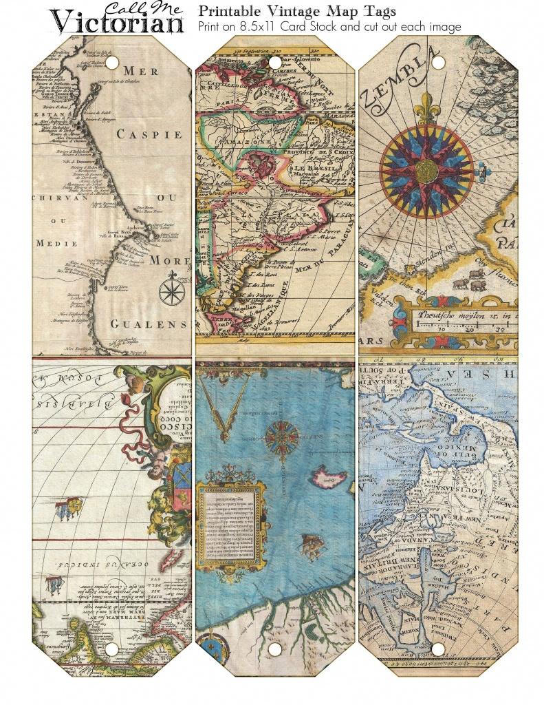 Printable Vintage Map Tags | Call Me Victorian | Scrapbook - Free Printable Travel Maps