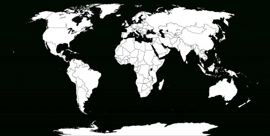 Printable White-Transparent Political Blank World Map C3 | Free - Blank Map Printable World