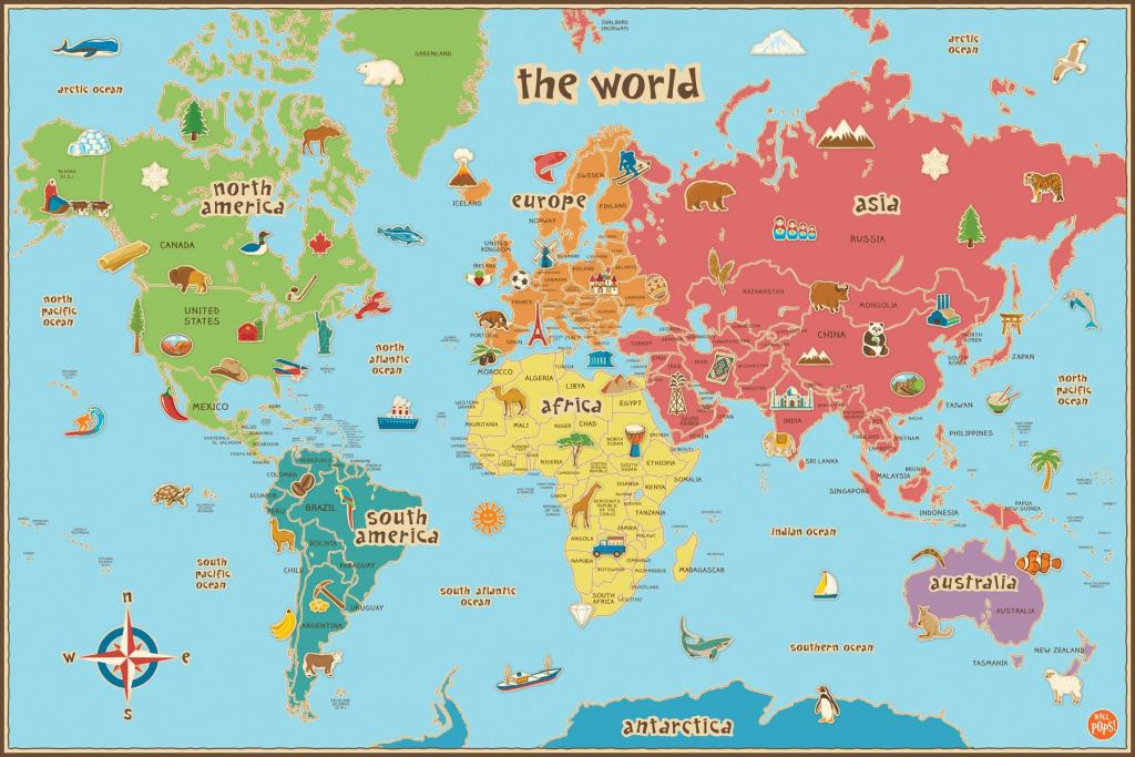 Printable World Map For Kids Poster Valid Maps Students Of 18 - World Map Poster Printable