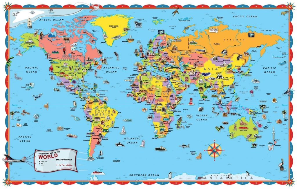 photo about Printable World Map named Printable Planet Map Poster Measurement Conserve With For Young children Nations