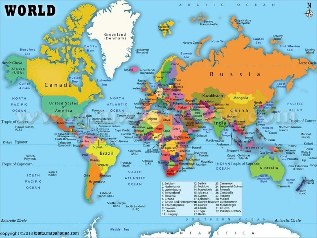picture about Printable World Map With Countries Labeled Pdf identified as Printable Map Of The Global - Implrs - Cost-free Printable Environment
