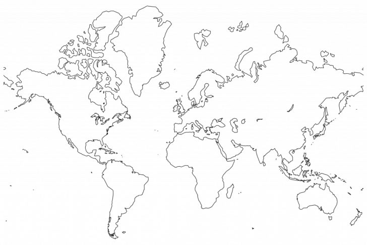 World Map Black And White Labeled Printable
