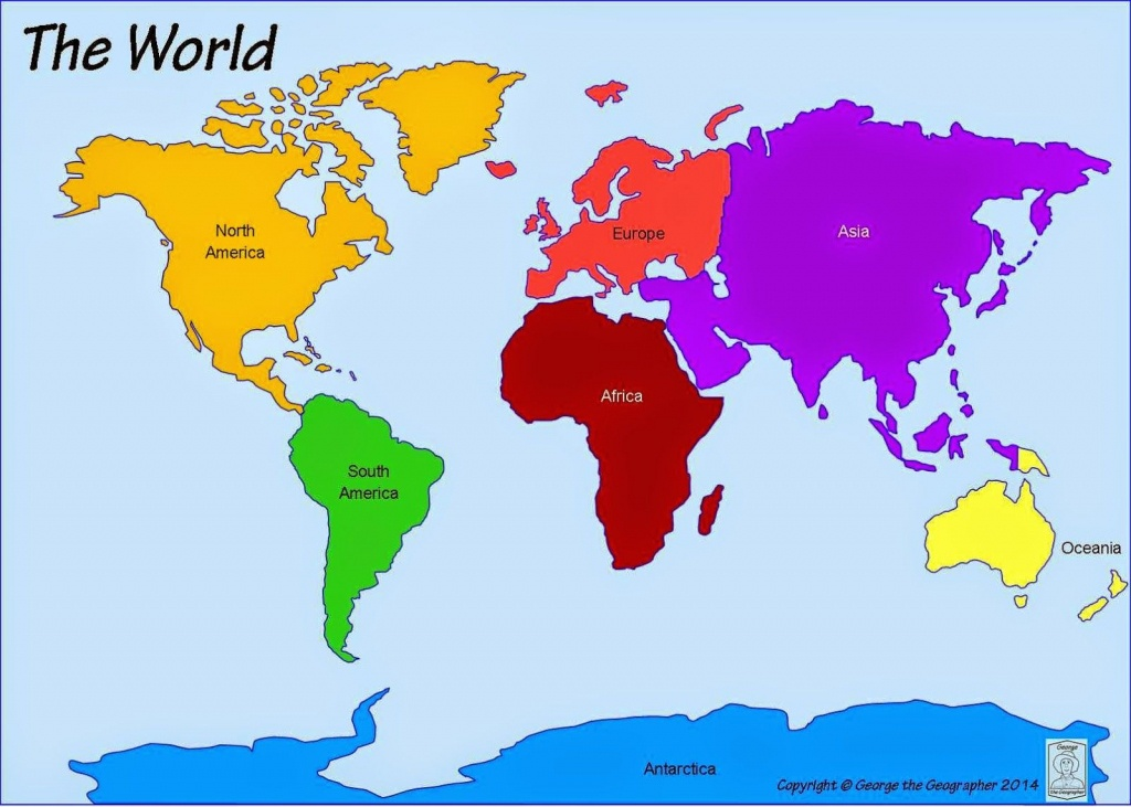 Printable+World+Map+7+Continents | Computer Lab | World Map - 7 Continents Map Printable