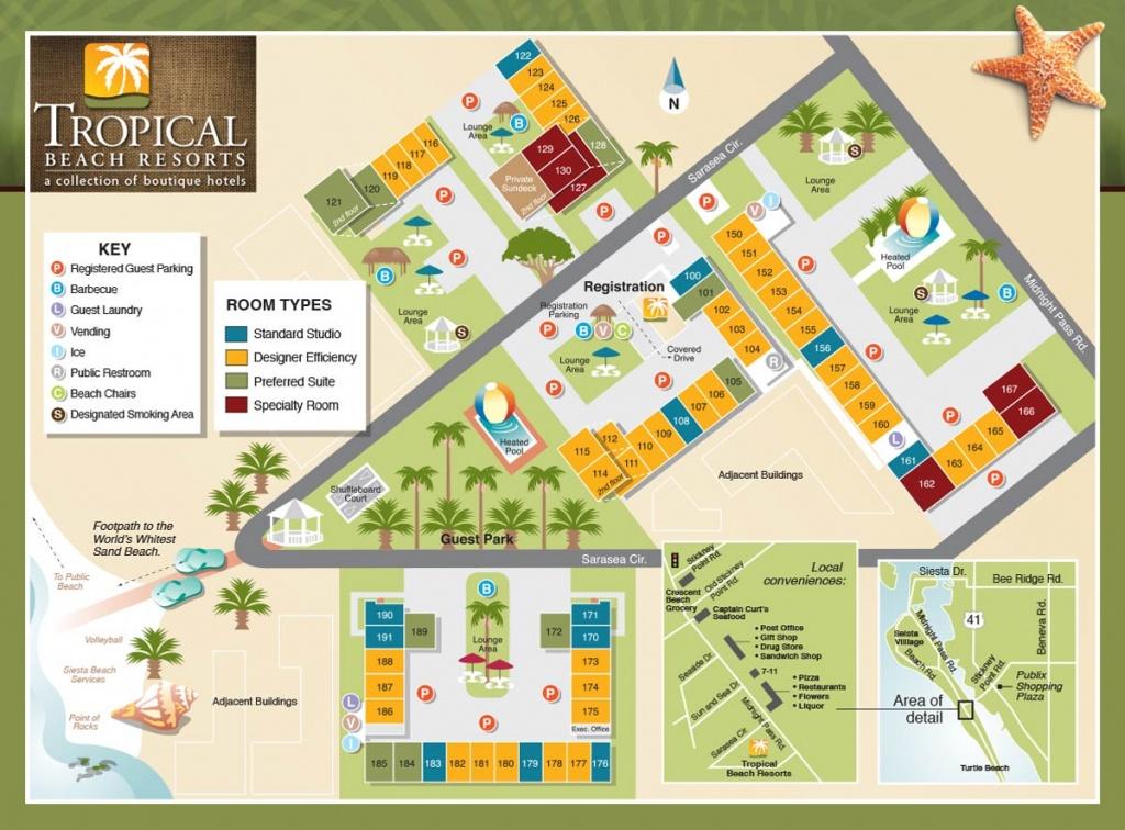 Property Map - Tropical Beach Resorts, Siesta Key Fl - Map Of Hotels In Sarasota Florida