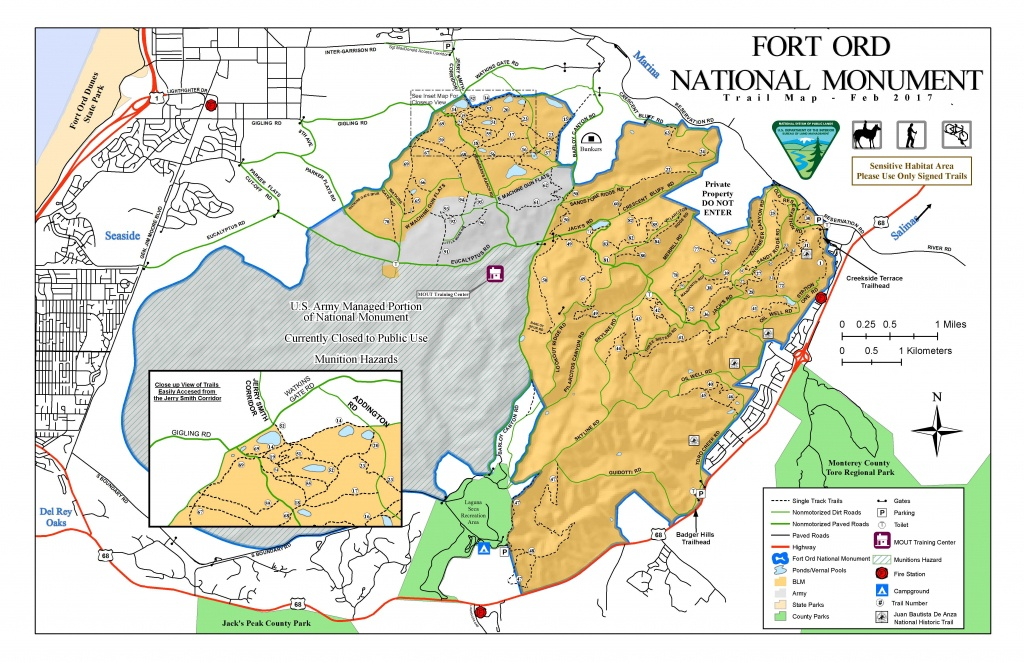 Public Room: California: Fort Ord National Monument Trail Map - Blm Land Map Northern California