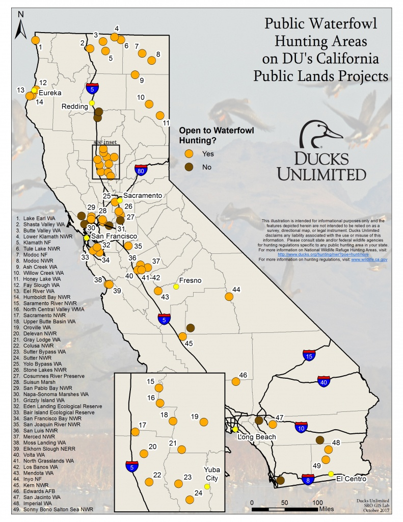 Public Waterfowl Hunting Areas On Du Public Lands Projects - Turkey Hunting California Map