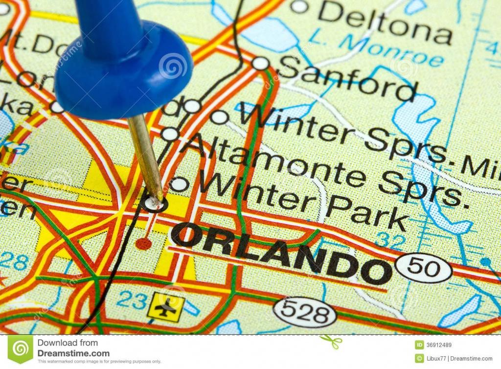 Pushpin In Orlando Florida Map Stock Image - Image Of Florida, Push - Orlando Florida Map