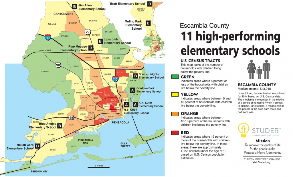 Putting Poverty On Escambia's Map | Studer Community Institute - Map Of Escambia County Florida
