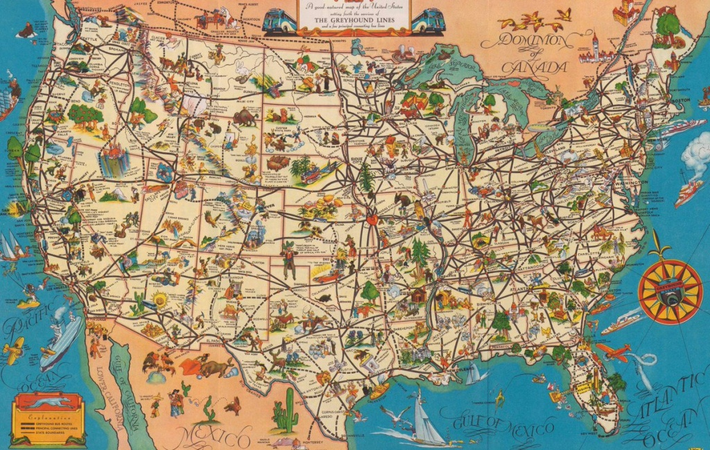 "Quite Interesting On Twitter: ""a 1935 'good-Natured Map' Of - Greyhound Route Map California"