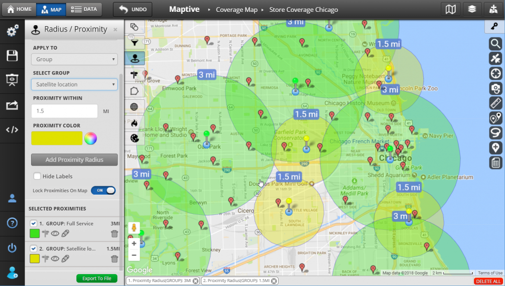 Radius Map And Proximity Tool - Maptive - Printable Radius Map