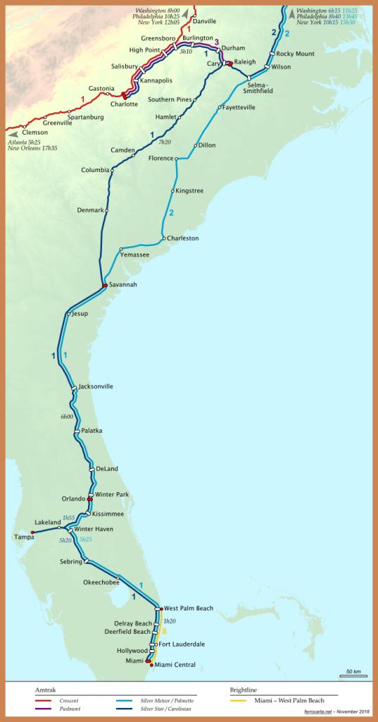 Railway Maps Of The United States | Carolinas And Florida - Brightline Florida Map