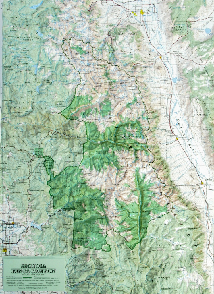 Raised Relief Map Of Sequoia-Kings Canyon National Park, California - Sequoia Park California Map