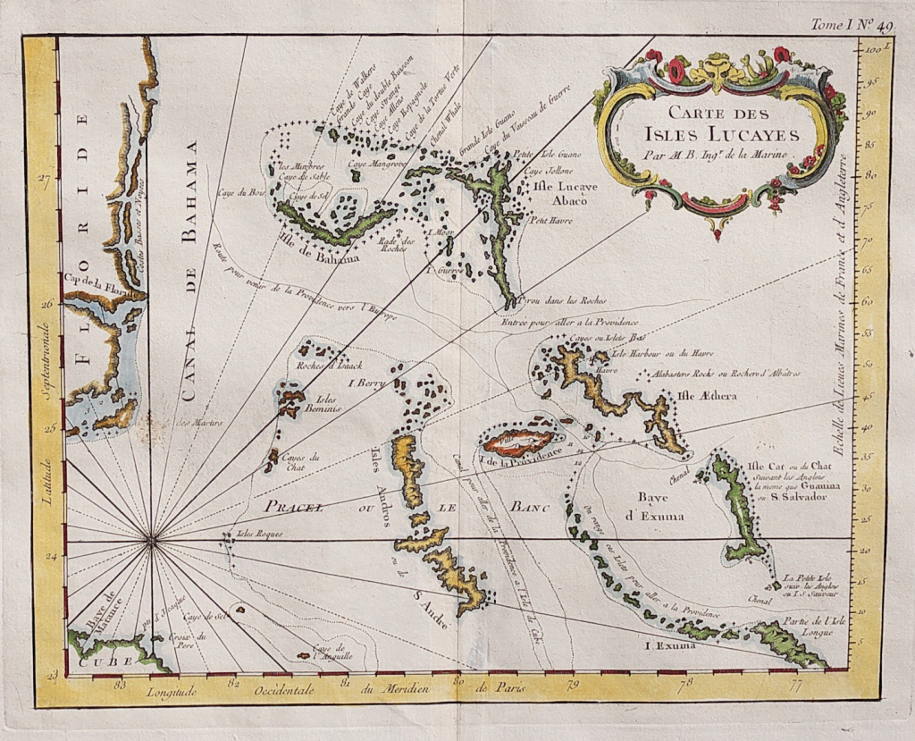 Rare Map Of The Bahamas And East Coast Of Florida || Michael - Jennings Florida Map