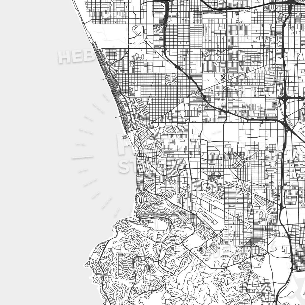 Redondo Beach, California - Area Map - Light   Hebstreits Sketches - Redondo Beach California Map
