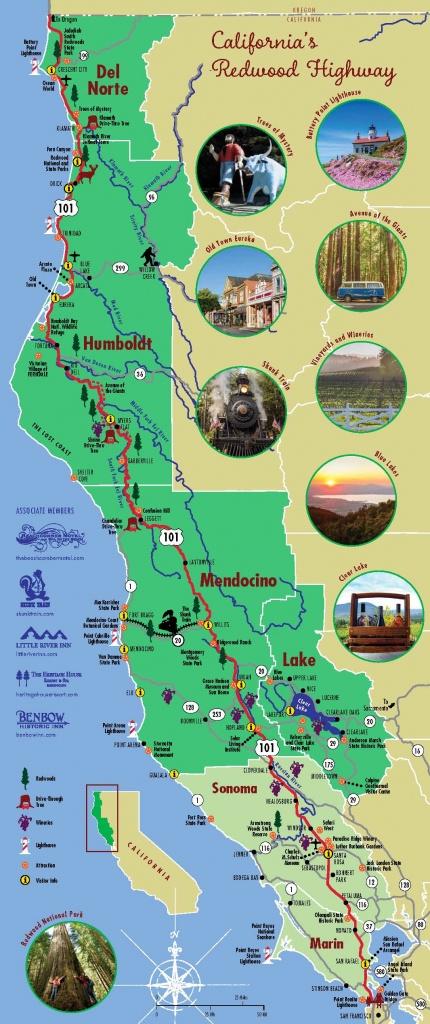 Redwood Highway Map | California's North Coast Region - California Redwoods Map