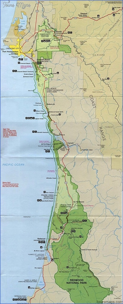 Redwood National Park Map California - Toursmaps ® - California Redwoods Map