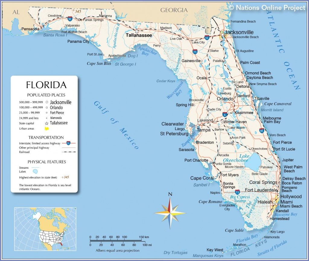 Reference Maps Of Florida, Usa - Nations Online Project - Where Is Panama City Florida On The Map