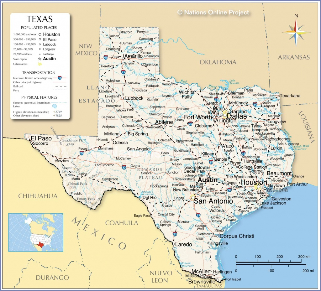 Reference Maps Of Texas, Usa - Nations Online Project - Show Me Houston Texas On The Map