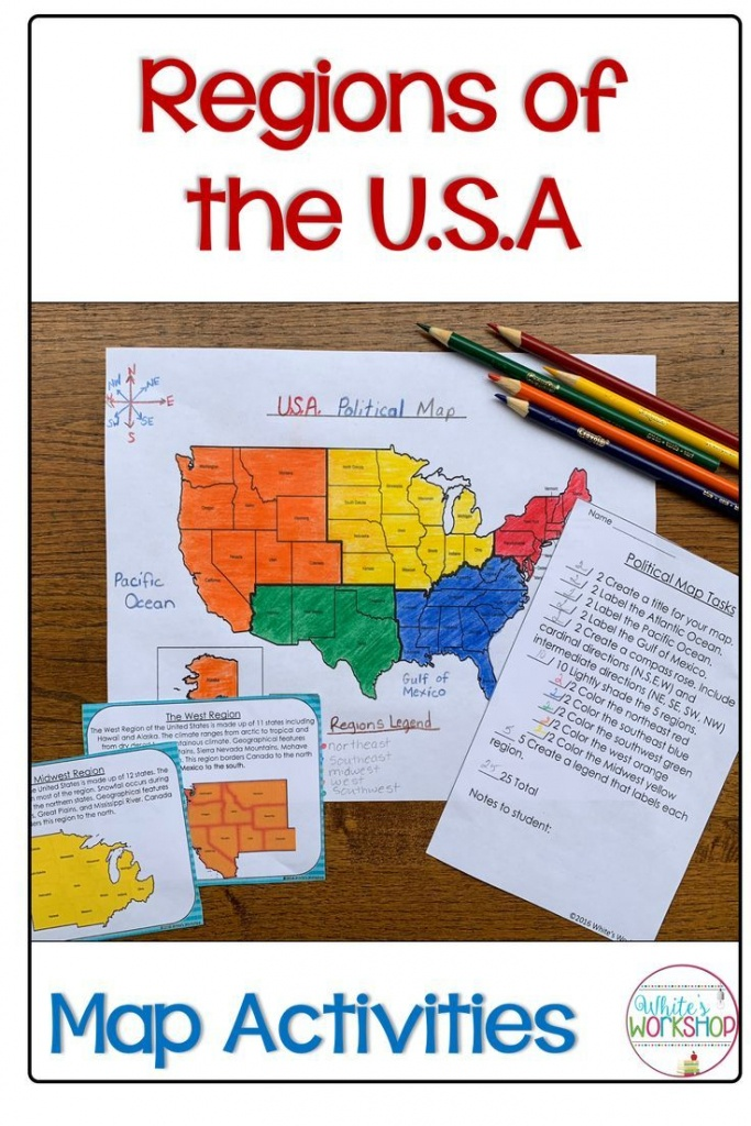 Regions Of The United States Map Activities | Assorted Tpt Pins - United States Regions Map Printable