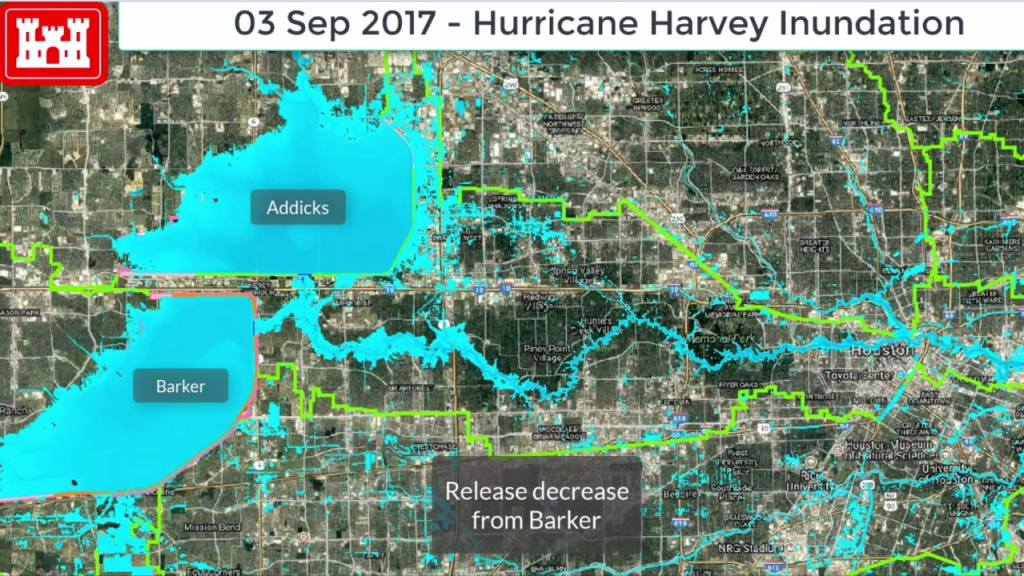 Release From Addicks, Barker Reservoirs Slowly Reduced - Barker Texas Map