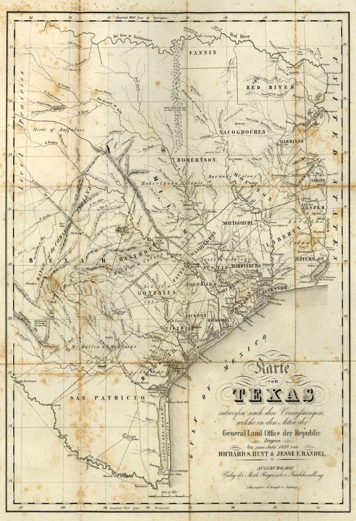 Republic Of Texas 1841 Map Print | Products | Texas Wall Art, Texas - Old Texas Maps Prints