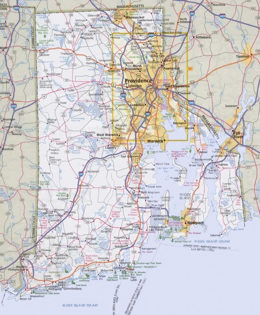 Rhode Island Road Map - Printable Map Of Rhode Island